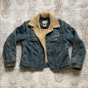 L.L. Bean | Faux Shearling Cropped Denim Jacket